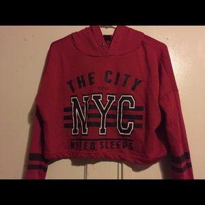Red cropped hoodie